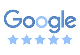 5 x 5 Sterne Google Bewertung mit Rezension